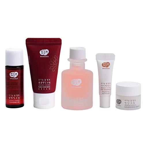 WHAMISA Basics Set - Koreanische Kosmetik - Reinigungsschaum, Pflege-Öl Toner, Augenserum, Pflegecreme - Korean Skin Care Extra Feuchtigkeit, Anti-Aging und verbesserte Hautstruktur - fermentiert