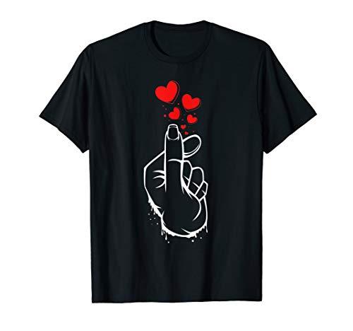 Kpop Finger Herz Zeichen Koreanische Musik Pop Hangul Korea T-Shirt