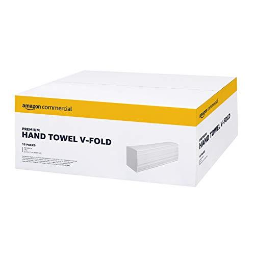 AmazonCommercial Interfold V-Falz Papierhandtücher, 2 lagig -15 Packungen, 3990 Blatt