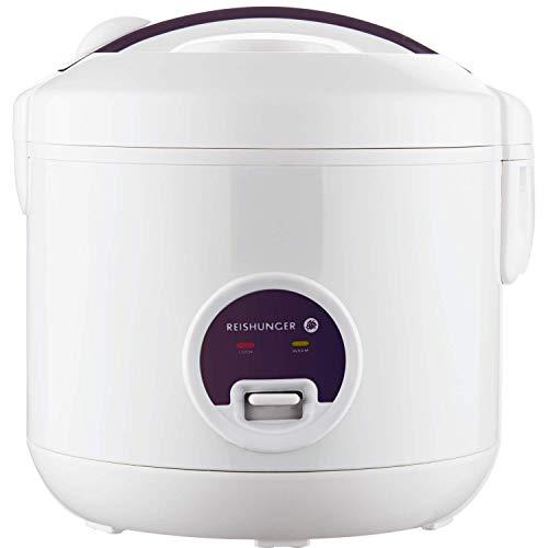 Reishunger Reiskocher (1,2l / 500W / 220V) Warmhaltefunktion, hochwertiger Innentopf, Löffel und Messbecher – Reis für bis zu 6 Personen
