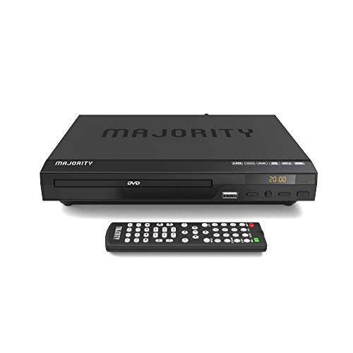 MAJORITY Scholars Kompakter DVD-Player, HDMI-Anschluss & RCA-Audiokabel für TV-Anschluss, Multi-Regionen 1/2/3/4/5/6, USB-Anschluss, Fernbedienung, DivX (Schwarz)