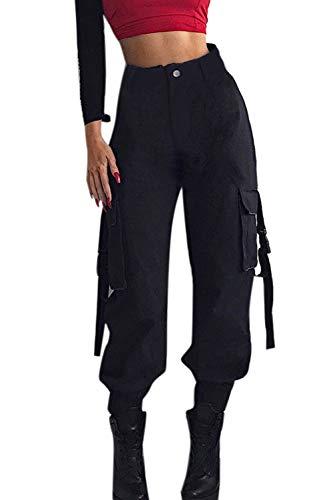 YACUN Damen Cargohose Casual lässige Hose Outdoor Rangerhose Jogger Mitte Taille Laufend Sweatpants Mit Taschen Jogginghose Schwarz M