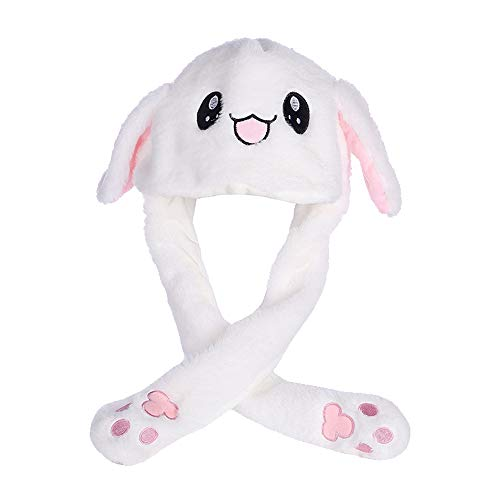 Guijiyi Agumx_Outdoor Hase niedliche Tiermütze Plüsch Hut sehr interessant ist, DASS Das Ohr Sich bewegen kann, mit Airbag-Kappe, Plüschtier, Geschenk