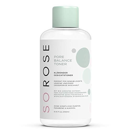 SOROSE Pore Balance Toner I Klärender Gesichtstoner mit Rosenwasser und grünem Tee I Perfekt für unreine und anspruchsvolle Haut I 100% natürlich ohne künstl. Zusätze, Parabene & Alkohol