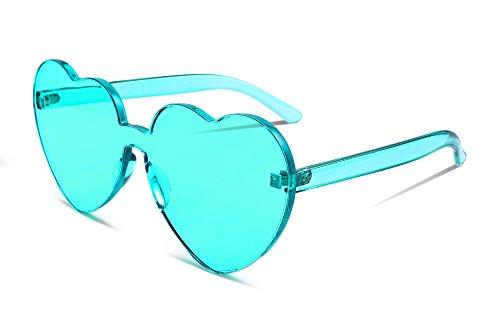 FEISEDY Heart Shaped Love Sonnenbrille randlose einteilige stilvolle transparente Linse B2419