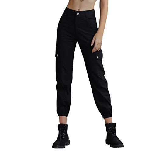 Damen Hose Jogginghose Lang Sporthose,Damen lässig hohe Taille Sport Hip Hop Hosen Beiläufige Sport Hosen Tasche Lose Hosen S-XL