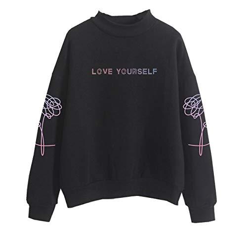 SERAPHY WOOKIT Unisex Kapuzenpullover Love Yourself Rollkragen Sweatshirts für Armee Suga Jimin Jin Jung Jook J-Hope Rap-Monster V schwarz-P S