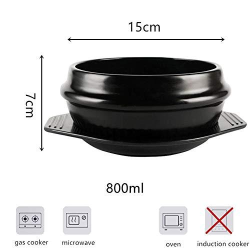Koreanische Schüssel für Bibimbap, hohe Temperaturbeständigkeit, Spodumen Porzellantopf mit Tablett, Keramik, schwarz, 800 ml
