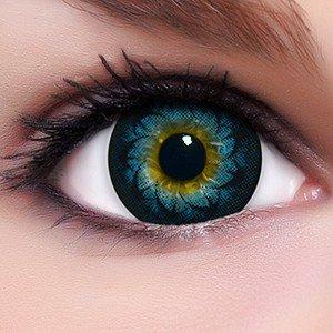 Circle Lenses blaue Glamour Blue ohne und mit Stärke + Behälter I 15mm I weich I 3 Monate anwendbar I Ohne und Mit Stärke