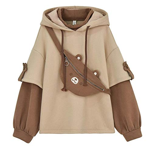 XYXZGM Harajuku Aesthetic Bear Anime Hoodie Women Korean Kawaii Crewneck Long Sleeve Streetwear Kpop Fall Winter Clothes Tops-Beige_L