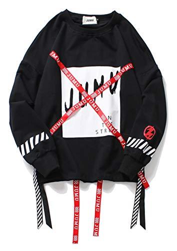 PIZOFF Unisex Hip-Hop Coole Sweatshirts - Langarm Training Oversized Übergroß Straße Stil Band Design,Aa057-black,M
