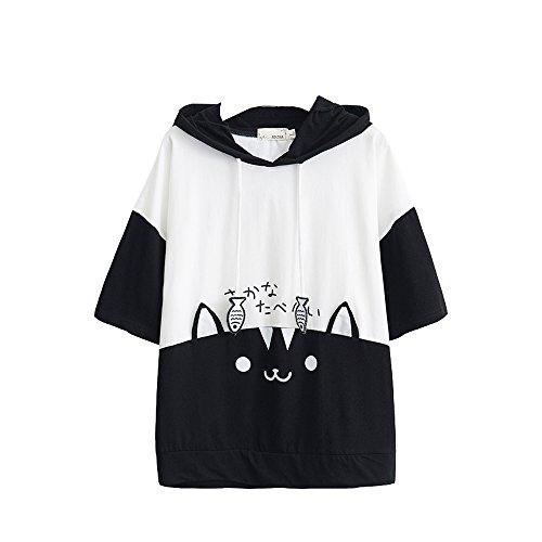 Frauen Kapuzen - t - Shirt Katze und Fisch Baumwolle kurzen ärmeln.