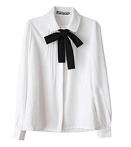 Hqclo Thing Box Lady Bowknot Baby Collar Long Sleeve OL Chiffon Button Shirt White