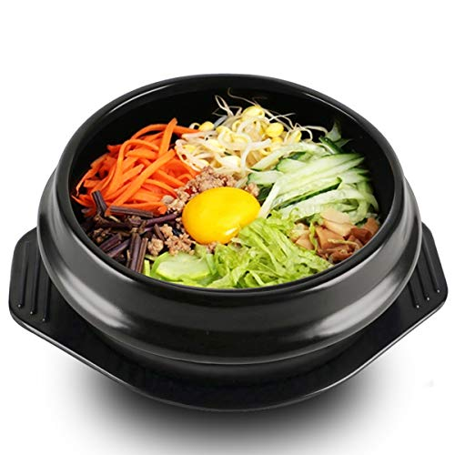 Bureze Koreanischer Dolsot Schüssel, große Größe, Steingut-Topf, Bibimbap Kochen + Untersetzer