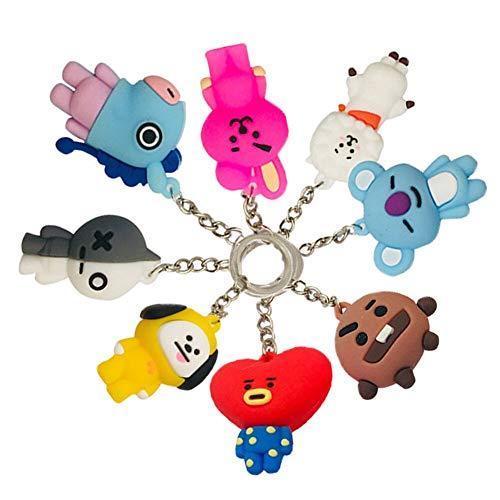 Kpop BTS 3D Schlüsselanhänger, Bangtan Boys Cartoon Schlüsselanhänger, Zubehör, 8 Stück