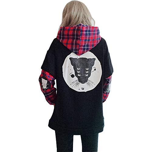 Damen Hoodies Harajuku Katze Plaid Ärmel Fake zweiteiliges Sweatshirt Gr. One size, Schwarz