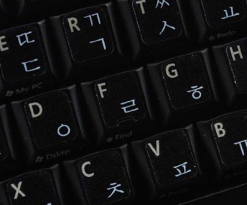 Qwerty Keys Koreanischen transparente Tastaturaufkleber mit Weiße Buchstaben - Geeignet für Jede Tastatur