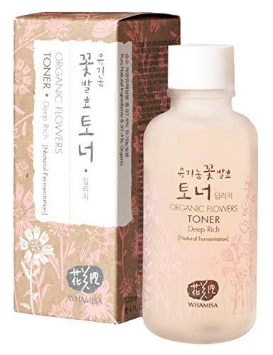 WHAMISA Organic Flowers Toner Deep Rich - Korean Skin Care für Extra Feuchtigkeit Frische und verbesserte Hautstruktur - Koreanische Kosmetik Geischtstonikum Sanft Fermentiert - 120ml