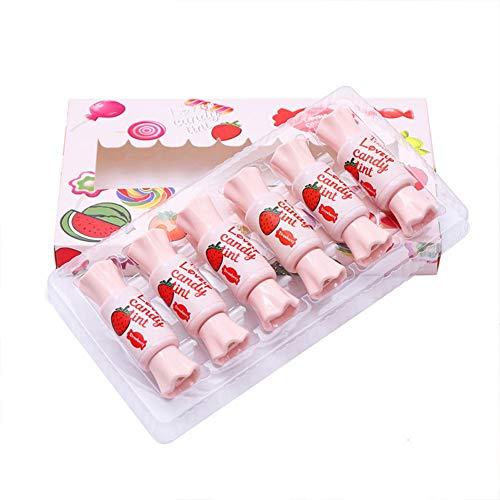 Allouli 6pcs Candy Lip Tint Set Lip Glaze Lip Stain Waterproof Lip Gloss Lipstick Long-lasting Make-up Kit