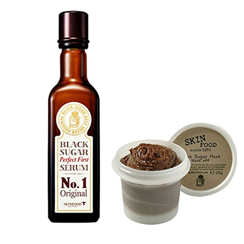 Skinfood Black Sugar Mask Wash Off 3.53Oz/100g + Black Sugar Perfect First Serum 4.06Oz/120Ml