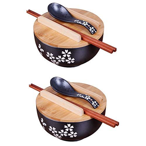 2PCS Japanische Küche Geschirr koreanische Vintage Schüssel japanischen Stil schwarz Keramik Instant Nudel Schüssel Stäbchen mit Deckel und Löffel Küche liefert (2PCS-16cm(6.25 inches))
