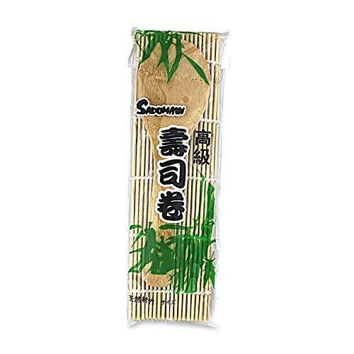 Sushimatte + Holzlöffel - Set SUSHI MATTE mit Löffel / Bambusmatte 24 cm x 21 cm