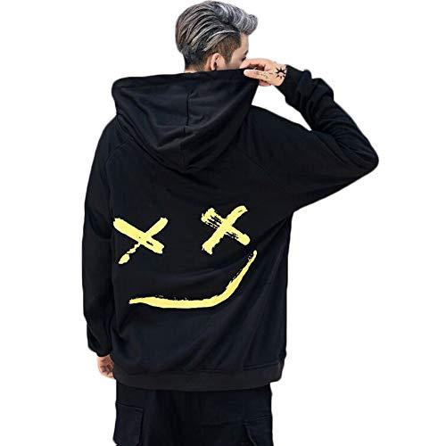 Shawnlen Herren Casual Kordelzug Langarm Stitching Color Pullover Kapuzenpulli Tops Hoodie mit Känguru-Tasche (L, schwarz)