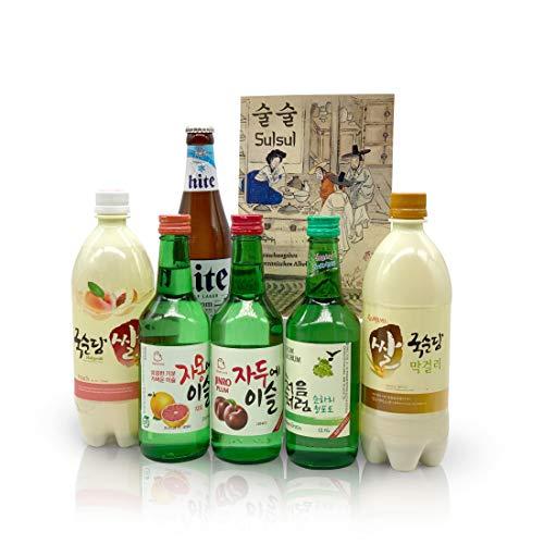 Sulsul Box mit 6 koreanischen alkoholischen Getränken - Ausgewählter Mix aus vielseitigen Spezialitäten - Korea Überraschungsbox