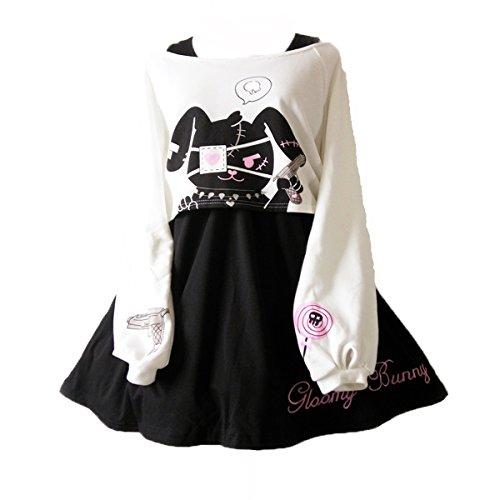 Himifashion Print - Kleid Kawaii Kaninchen 2 stücke für mädchen 2018 Neue Kleider, White&black, M