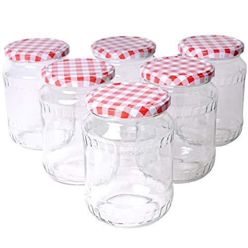 Einmachgläser mit Schraubdeckel (Fruchtmotiv), 6er Set, Marmeladengläser, Sturzgläser, Einweckgläser, Vorratsgläser in TOP Qualität (540ml)