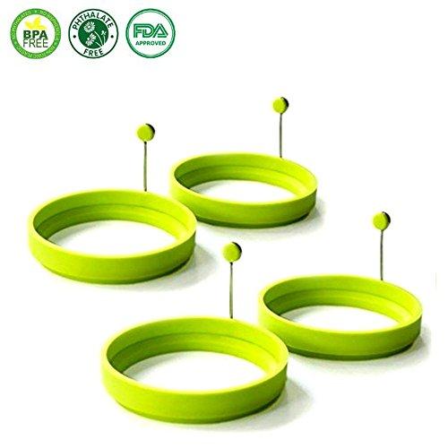 Spiegeleiform für Bratpfanne - VANGOLD Eierformer 4er Pack Pfannkuchen Form aus Silikon Eierring Rund Grün - 4 Stück
