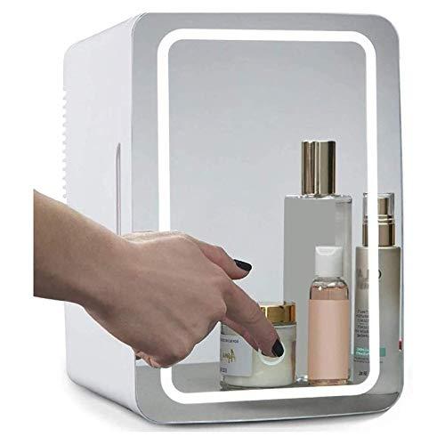 MISS YOU 2-in-1-Make-up Spiegel Skin Care Kühlschrank mit LED-Licht Compact tragbare Kühlbox for Schlafzimmer Office Dorm Auto - Ideal Hautpflege und Kosmetik