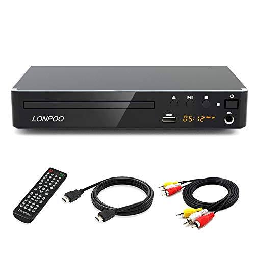 LONPOO Kompakt HD DVD-Player Alle Regionen frei mit HDMI / Cinch / USB /MIC Ports,1080p Upscaling, MultiROM (mit HDMI & AV Kabel)