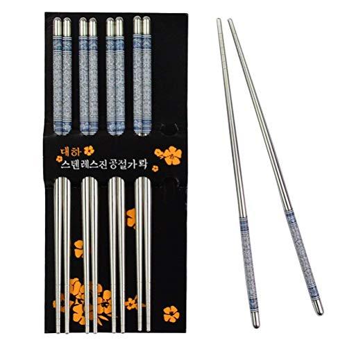 5 Paar Essstäbchen Chopsticks Aus Edelstahl Stäbchen Chinesische Japanische Koreanische Essstäbchen