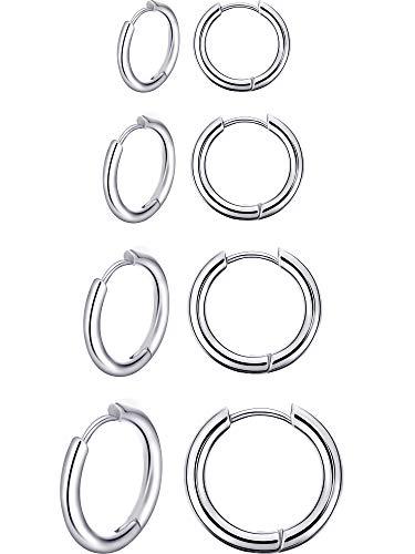 4 Paar Edelstahl Creolen Nase Lippen Ringe Kleine Knorpel Hoop Ohrringe für Männer und Damen Zubehör Gefallen, 8 mm, 10 mm, 12 mm, 14 mm (Silber)