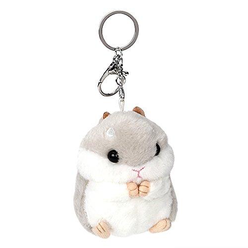 Holdream KFZ Schlüssel Kette Schlüssel Ring Cute Plüsch Hamster Anhänger Auto Schlüsselanhänger Handtasche Dekoration (Grau)