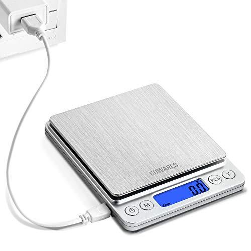 CHWARES Digital Küchenwaage mit USB Aufladen,Digitalwaage 0.1g/3kg,Electronische Feinwaage,PSC/Tara-Funktion/LCD Display,9 Einheiten Konvertierung,Briefwaage,Taschenwaage,USB-Ladekabel Ladevorgang
