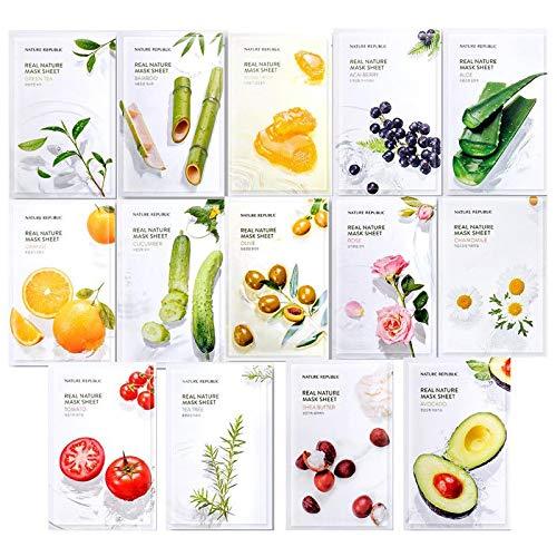 Nature Republic Frisch verpackte koreanische Gesichtsmaske aus natürlichem Pflanzenextrakt [Erneuerung] 14er Pack