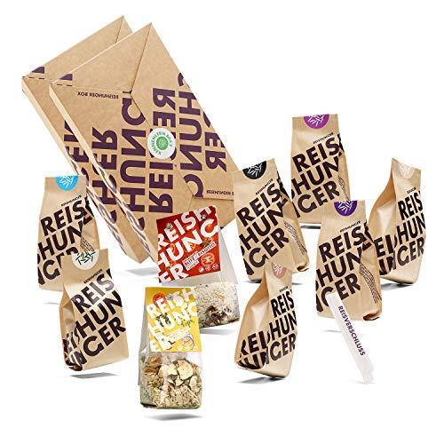 Reishunger Mittlere Kennenlern Box - Die 9 beliebtesten Reissorten aus aller Welt + praktischer Reisverschluss - Perfekt als Geschenk