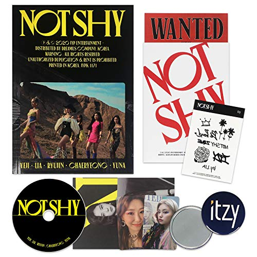 ITZY Album - NOT SHY [ A ver. ] CD + Photobook + Photocards + Lyric Accordion Book + TATTOO STICKER + POSTCARD SET + OFFICIAL POSTER + FREE GIFT