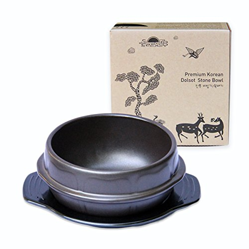 Crazy Korean Cooking Stone Bowl (Dolsot), brutzelnder Hot Pot für Bibimbap und Suppe Premium Keramik ohne Deckel, Medium