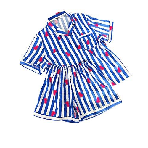 JLTPH Unisex BT21 Schlafanzug Sommer 2pcs Pyjama Set CHIMMY Cooky KOYA MANG RJ SHOOKY TATA Same Harajuku Cartoon Kurzarm Nachtwäsche Pajamas Nighty Bedgown für Army KPOP
