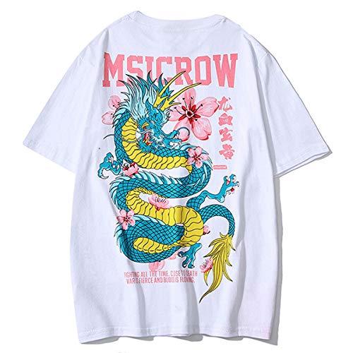 ZAFUL Herren T-Shirt Rundhals mit Dragon und Blumen Oberteil mit Chinesische Zeichen Tee Kurzarm Loose WeißMedium