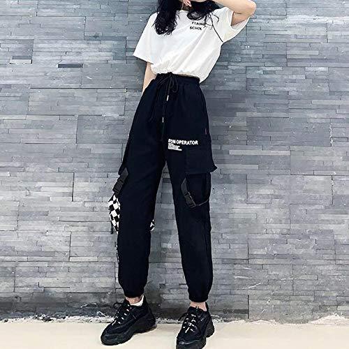 Dongwall Damen Casual Pants Streetwear Cargo Pants Damen Harajuku Loose Big Pockets Hearm Pants Damen High Waist Pantalon Female Korean Style Hose M Black