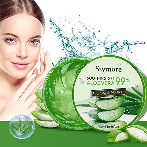 Skymore 300ml Aloe Vera Gel, Aloe Vera Creme für trockene Haut, After sun gel, Sonnenbrand Reparieren, Beruhigende und Pflegende, Feuchtigkeitspflege für Gesicht, Körper