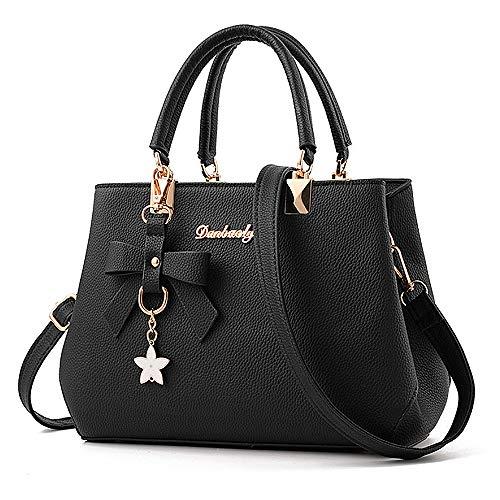 BestoU Damen Handtasche Leder Tasche Shopper Damen Handtaschen Schule Schultertaschen Geldbörsen (Schwarz)