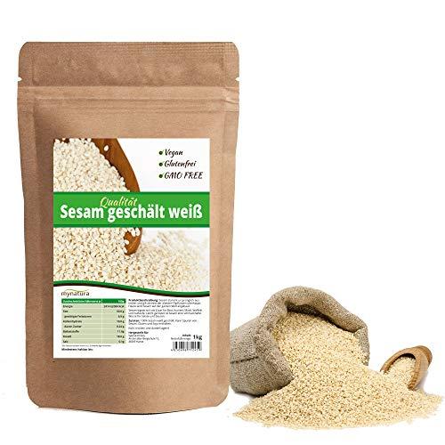 Mynatura Sesam weiß geschält, hohe Qualität ohne Gentechnik und natürlich, vegan und glutenfrei - 1kg Beutel