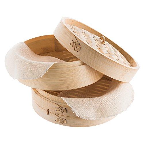Reishunger traditioneller Bambusdämpfer (Ø 25 cm, 2 Etagen) inkl. 2 Baumwolltücher. Dank schonendem Garvorgang perfekt geeignet für Dim Sum (Dumplings), Reis, Gemüse, Fisch und Fleisch.