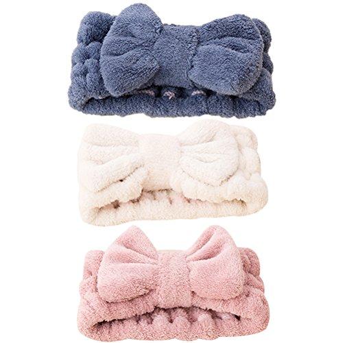 Frcolor Bowknot Haarbänder Elastische Korallen Samt Make-Up Gesicht Waschen Dusche Stirnband für Frauen Mädchen 3 Stücke (Blau Rosa Weiß)