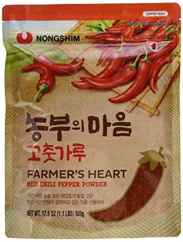 Nong Shim Farmer's Heart Red Chili Pepper Powder - Rotes Paprikapulver zum Würzen zahlreicher Gerichte - 4 x 500g in einer wiederverschließbaren Verpackung